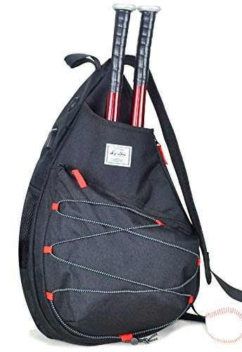 Tennis Bag for Men Women, Racquetball Pickleball Paddle Squash Sling Bags Crossbody Sports Backpack Adult with USB Charge Port (Black)