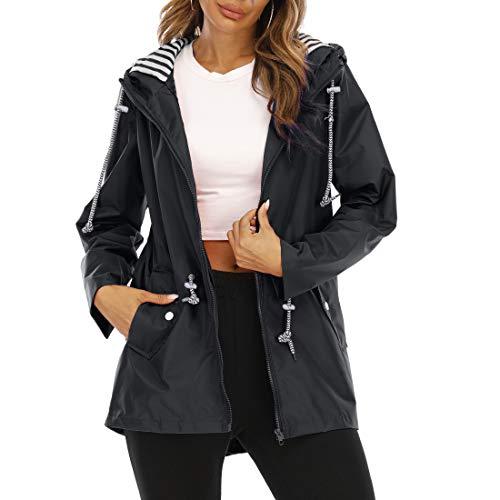 OEAK Chaqueta de lluvia para mujer, impermeable, transpirable, ligera, con capucha, cortavientos, con capucha ajustable, chaqueta funcional, negro A, L