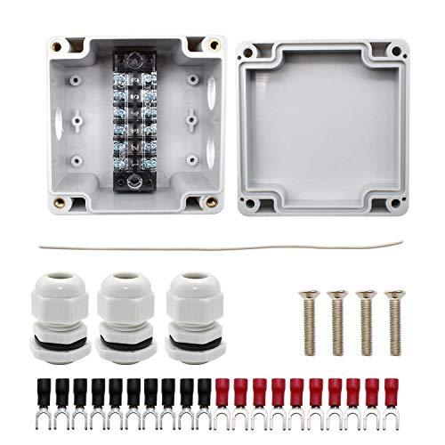 WJUAN IP66 Wasserdichte Anschlussdose, Weiße 3- Polige Kabelstecker mit Schraubklemmenleiste und Y- kaltgepresster Klemme, PG9 Outdoor- Projektbox für Ø 4-8 mm Kabel (82 x 80 x 56 mm)