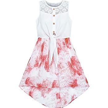 Sunny Fashion Girls Dress Chiffon Pink High-Low Tie Waist Party Size 10