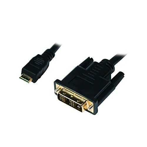 LogiLink Mini-HDMI - DVI-D M/M 2m 2m Mini-HDMI DVI-D Negro - Adaptadores de Cable de vídeo (2 m, Mini-HDMI, DVI-D, Macho, Macho, Oro)