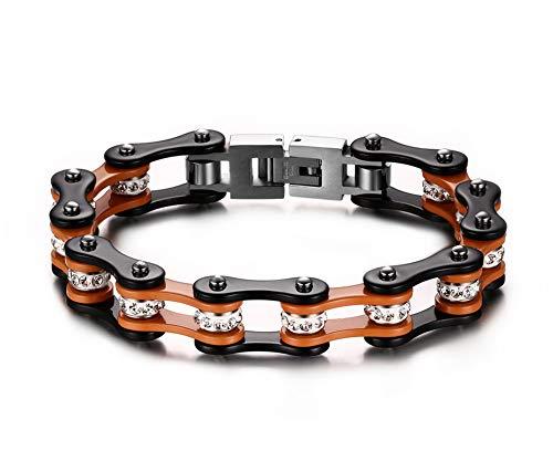 Aruie - Pulsera para hombre de acero con pedrería de imitación, cadena de bicicleta, moto, color naranja y negro