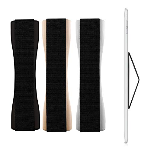 kwmobile Tablet Hand Strap Holder, Set of 3 - Elastic Self-Adhesive Grip Compatible with iPad, Samsung Galaxy Tab, Asus and More (Black, Silver, Gold)