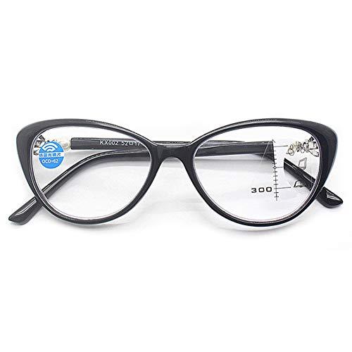 KOOSUFA Damen Gleitsichtbrille Progressive Multifokus Lesebrille Anti-Blaulicht Katzenaugen Hornbrille Sehhilfe Lesehilfe TR90 Anti Müdigkeit Brille 1,0 1,5 2,0 2,5 3,0 3,5 (Schwarz, 1.5)