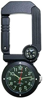Sun Company Traverse Tool - Six-Function Foldaway Multitool   Carabiner, Watch, Compass, Thermometer, LED Light, Signal Mirror