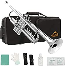 Eastrock Trumpet Standard Brass Bb Nickel Plated Trumpet for Student Beginner Brass Instrument with Hard Case, Gloves, 7C Mouthpiece, Valve Oil and Trumpet Cleaning Kit