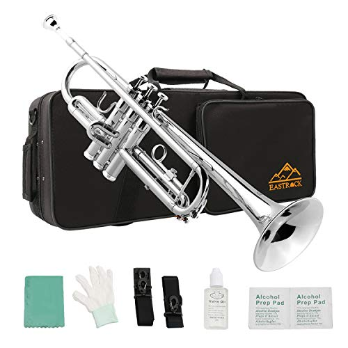 in budget affordable East Rock Nickel Plated Standard Bb Copper Trumpet for Beginner Wind Instruments.