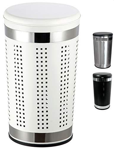 MSV Wäschetonne Wäschekorb Wäschesammler Wäschetruhe mit Sitzkissen Rund, 60,5 cm Höhe Metall Weiß