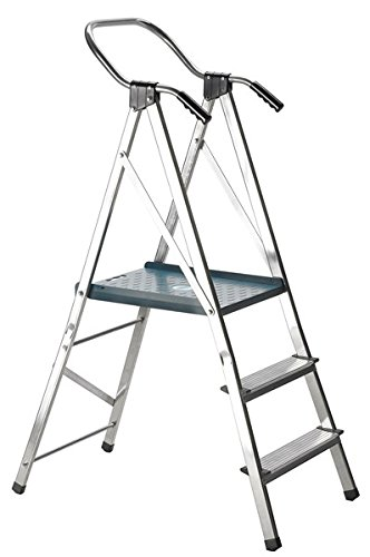 Escalera Svelt Quick de aluminio con doble peldaños a un tronco de subida provista de plataforma aumentada, barandilla mejorada y asas ergonómicas