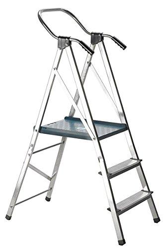 Escalera Escalera Svelt Quick de aluminio doble a peldaños a un tronco de subida retráctil de plataforma aumentada, barandilla maggiorato y asas ergonómicas