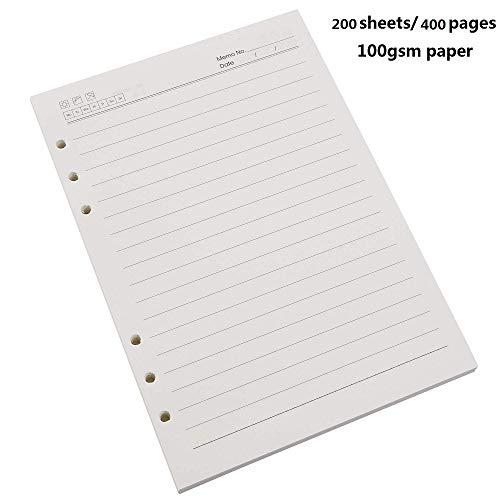 BESTOO A5 Refill Liniert Papier,6 Löcher,100gsm,200 Blatt / 400 Seiten für A5 Nachfüllbar Tagebuch Notizbuch Journal Einsätze