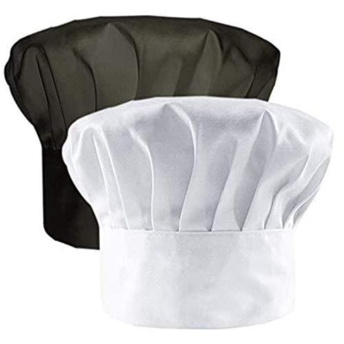 IHUIXINHE 2 Pezzi Cappelli da Cuoco Cotone Regolabile Elastico Cappelli da Chef, Adulto Cappelli da Chef, Bianco,Nero