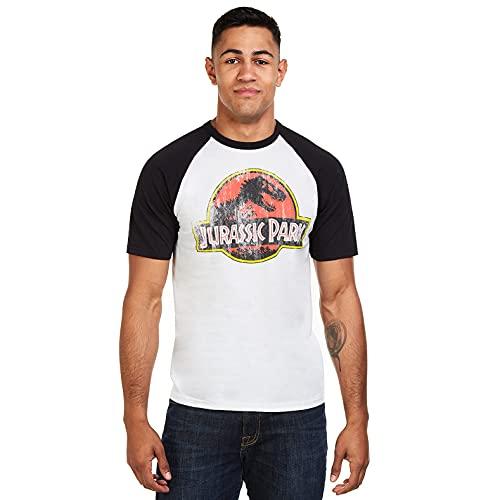 Jurassic Park Distressed Logo Camiseta, Blanco (Blanco/Negro Wbl), L para Hombre