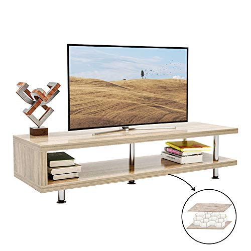 Bestier Short TV Stand with 2-Shelf Storage, 47inch Media Furniture Wood Storage Console with Steel Frame, Hollow Core Entertainment Center/Coffee Table/Sofa Table/Gaming Stand for Home Office Oak
