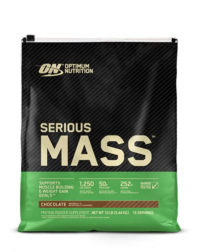 Optimum Nutrition Serious Mass Weight Gainer Protein Powder, Vitamin C, Zinc and Vitamin D for Immune Support, Chocolate, 12 Pound (Packaging May Vary)