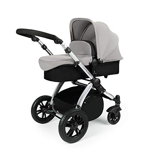 Ickle Bubba Stomp V2 All in One Travel System   Bundle Includes Carrycot, Pushchair, Car Seat, Accessories   Silver on Silver Chassis