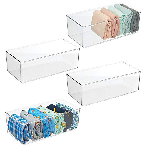 mDesign Long Plastic Drawer Organizer Box Storage Organizer Bin Container for Closets Bedrooms Use for Leggings Socks Ties Shirts Camisoles - 4 Pack - Clear
