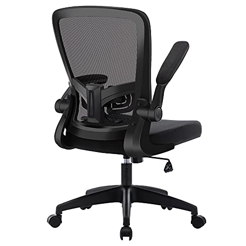 HOMIDEC Bürostuhl Ergonomisch Schreibtischstuhl, Computerstuhl hat Verstellbarer Lendenstütze, Höhenverstellung, 360° Drehstuhl mit Klappbaren Armlehnen, Netzstuhl, Chefstuhl Bis 150kg Belastbar