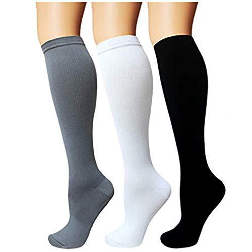 3 paia di calze a compressione da uomo e donna, calzini a compressione anti-trombosi, calzini da corsa Tromba per sport, volo, viaggi, gravidanza o scopi medici