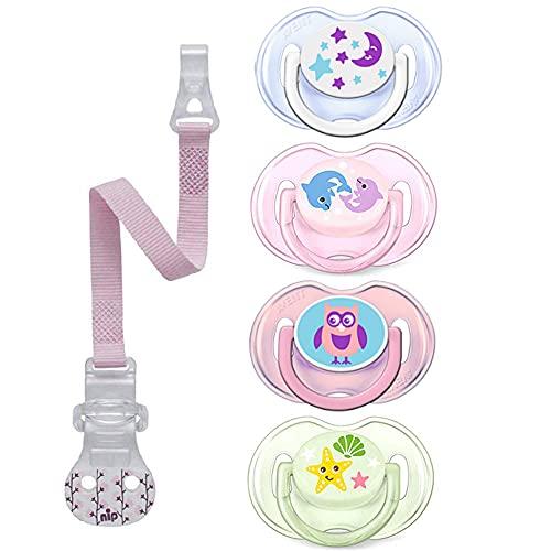 Philips Avent Schnuller // 0-6 Mo // Rosa Mix // 4er Set // inkl. 4 aufsteckbarer Hygienekappe // nip Scchnullerband Blumen Pink mit Hacken