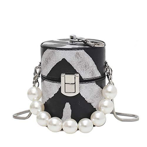 Santwo - Borsa piccola da viaggio per rossetto, mini borsa a tracolla con perle, Multicolore