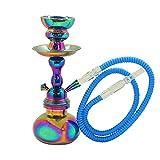 MADGROW. Cachimba Modelo Rainbow. 25 cm. 1 Tubo Flex. Color Iridiscente Varia según la luz. Incluimos Super Pack: 1 Cazoleta de Recambio + 10 Pastillas carbón + boquillas XXL+ Pinzas con agujereador