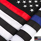 DANF Thin Blue and Red Line Flag 3x5 ft Made from Nylon - Embroidered Stars - Sewn Stripes - UV Protection Black Blue and Red American Police Flag Honoring Law Enforcement Officers First Responder