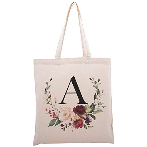 Personalized Floral Initial Cotton Canvas Tote Bag for Events Bachelorette Party Baby Shower Bridal Shower Bridesmaid Christmas Gift Bag | Daily Use | Totes for Yoga, Pilates, Gym, Workout | #2 - A