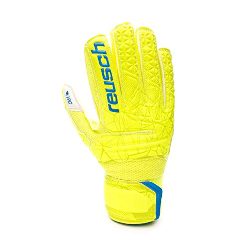 Reusch Fit Control RG Open Cuff Finger Support - Guantes de Portero para niños, Infantil, Color Lime/Safety Yellow, tamaño 7