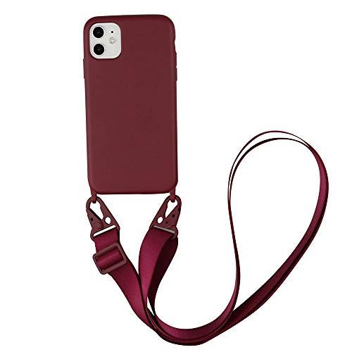 xingshen Funda de Silicona para teléfono con cordón para Samsung Galaxy S10 S20 Plus, Funda Ultra con Correa para el Cuello, cordón para Collar Cruzado para iPhone 12/11-Para 6s 6 7 8 se_Vino Rojo_