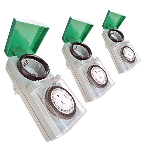 Zeitschaltuhr Aussenbereich mechanisch 3er Set – Bequemlichkeit in Haus und Garten - Analoge Outdoor Zeitschaltuhr IP44