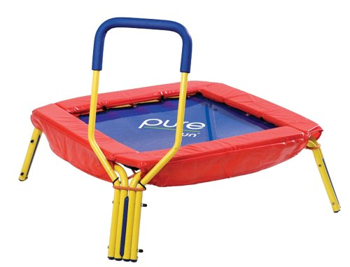 Pure Fun Kids First Jumper: 37' Mini Trampoline with Handrail, Youth Ages 3+