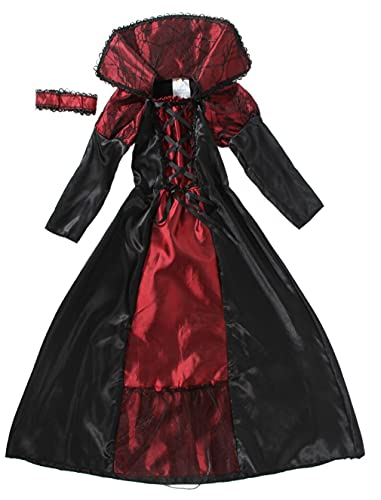 GEMVIE Vestito Carnevale Halloween Principessa Abito Vampira Bambina Cosplay Nero-Rosso(10-12 anni)