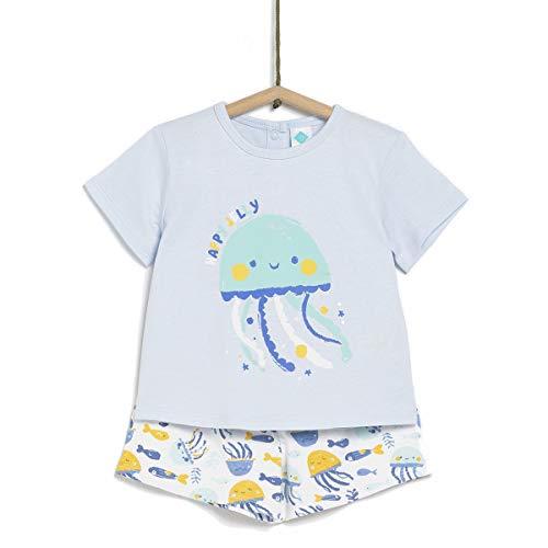 TEX - Pijama de 2 Piezas Manga Corta Unisex de Bebé, Azul Neutral, 36 Meses