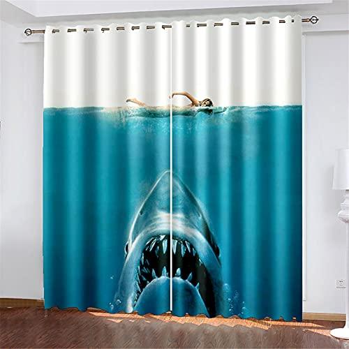 FACWAWF 2 Cortinas, Patrón De Tiburón De Impresión Digital 3D, Tela De Poliéster Suave Y Transpirable, Habitación De Los Niños, Cortinas Opacas para El Balcón De La Sala De Estar W184xH160cm(2pcs)