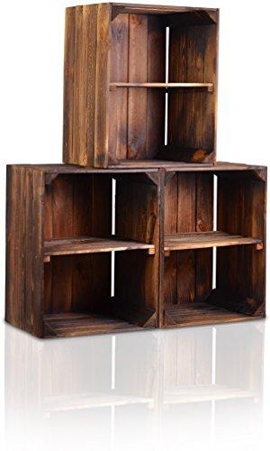 CHICCIE 3 Set Holzkiste im Vintage Look - Kiste Kurze Ablage Geflammt Dunkel - Obstkiste Dekokiste