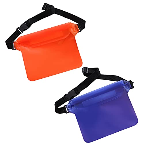 Riñonera Impermeable Transparente, Bolsa Impermeable con Correa de Cintura Ajustable para Playa, Natación, Navegación, Pesca, Naranja Púrpura (2 Piezas)