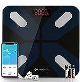 ETEKCITY Báscula Grasa Corporal Inteligente, Báscula Digital de Baño Hasta 180kg, Plataforma (300×300 mm) y Gran LED, 13 Parámetros Esenciales, Alta Precisión con Bluetooth, APP para Android e iOS