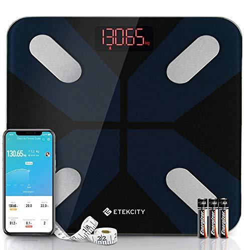 Etekcity Bluetooth kroppsfettvåg, personlig våg digital med intelligent app för kroppsvikt, fett, BMI, muskelmassa, vatten, protein etc, 28 st/180 kg/400 lb, inklusive batterier, svart