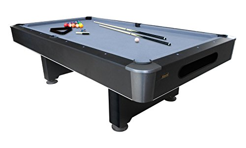Mizerak Dakota 8' Slatron Billiard Pool Table Includes Two Cues, Billiard Ball Set, Triangle, Brush, and Chalk