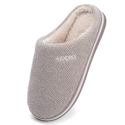 GAXmi Pantuflas Invierno Mujer Zapatillas de Casa Hombre Interior Cómodo Felpa Zapato Cálido Suave Marrón 42/43 EU