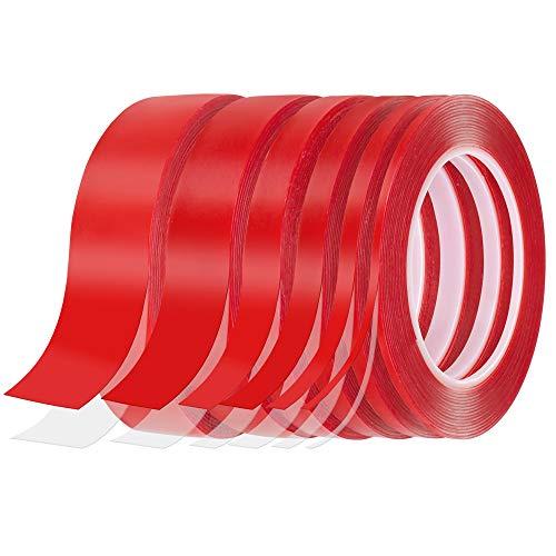 Doppelseitiges Montage Klebeband, Homgaty 6 Rolle Transparent Acryl Klebebänder, Extra Starke Klebekraft, Wasserdicht, Hitzebeständig, Abnehmbar, Rückstandsfrei, 6 Größen