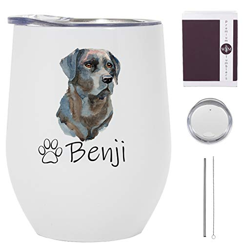 Black Lab Wine Tumbler - 12 oz Stainless Steel Tumbler with Straw - Black Lab Tumbler for Women - Black Lab Travel Mug with Lid - Black Lab Travel Cup - Black Lab Glass with Name - Made in the USA