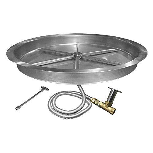 1 Set of Fire Pit Burner Kit, Round Bowl Pan, Natural Gas, 33'