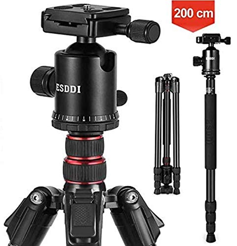 ESDDI Camera Tripod, 79 inches Aluminum Tripod for Camera with 360° Panorama Ball Head and Monopod, Tripod for Canon, Nikon, Sony, DSLR, Ultra Compact and Stable for Travel and Work - 17.6 Lbs Load