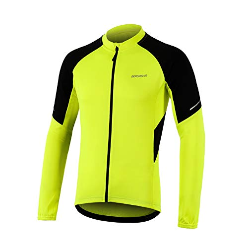 BERGRISAR Cycling Jersey Mens Long Sleeves MTB Bike Shirts with Zipper Pockets Yellow Size Large
