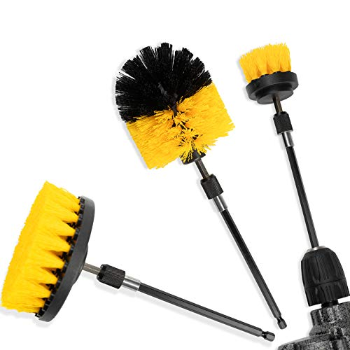 [4 Pack Set] Auto Detailing Drill Brush Set, Wheel Cleaner Brush, Car Cleaner Wash Brush Supplies Kit Fit Tire, Car Mats, Floor Mat, Bathroom and Auto Power Scrubber Brush Cleaning Sets