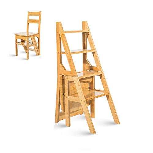 Hockerleiter, 4-Stufen Leiter, Holz - Hause Tritt-Tritthocker - Klappbarer Stuhl Trittleiter