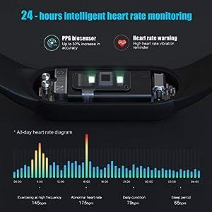 Timoom-tech Xiaomi Band 5 Pulsera de Actividad Inteligente, Fitness Tracker, Monitor de Ritmo Cardíaco, Smartwatch con 1.1''Pantalla AMOLED a Color,100+ diales de Temas, 11 Modos Deportivos, Negro