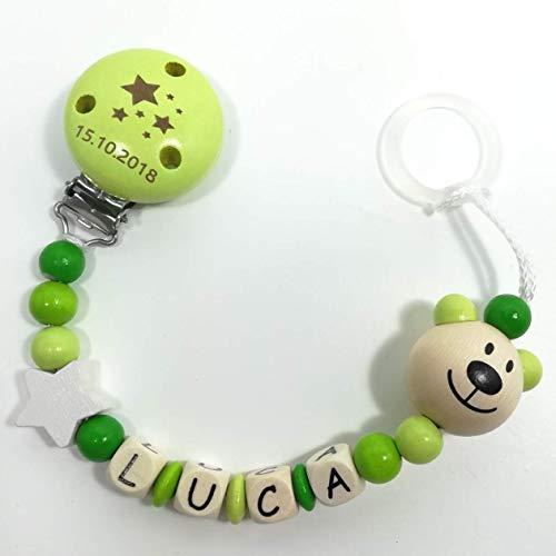 Schnullerkette mit Geburtsdatum, Wunschgravur, Schnullerekette mit Namen, Schnullerkette mit Name, Schnullerkette Modell Luca